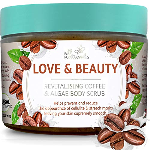 All Naturals, Exfoliating Body Scrub with Coffee and Algae, 400g, Intensive Skin Anti-Cellulite & Firming Treatment, Gifts for Women.