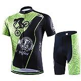 GWELL Maillot de ciclismo para hombre, maillot de manga corta y pantalones cortos con almohadilla de asiento, patrón de E M