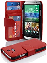 Cadorabo Book Case Works with HTC ONE M8 (2. Gen.) in Inferno RED – with Magnetic Closure and 3 Card Slots – Wallet Etui Cover Pouch PU Leather Flip