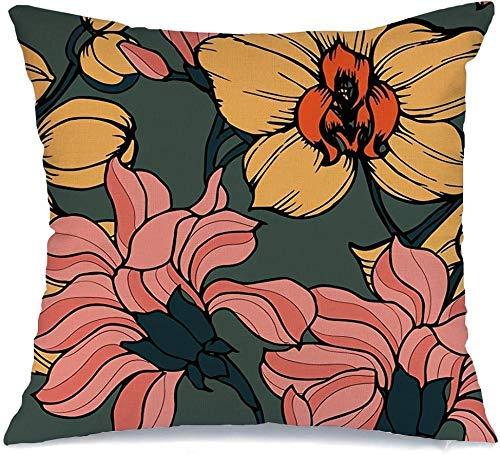 Funda de Cojine Throw CojínSelva Dibujado Flores Bosquejo Patrón Abstracto Trébol Conjunto Diseño Floral Naturaleza Árbol Jardín Botánico Fundas para almohada 45X45CM