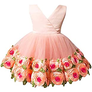 OBEEII Baby Girls Flower Ruffle Layers Princess Dress Toddler Kids Sleeveless Floral Bowknot Dress Cute Tulle Spliced Tutu Skirt Birthday Party Clothes for Newborn Infant 18-24 Months Orange