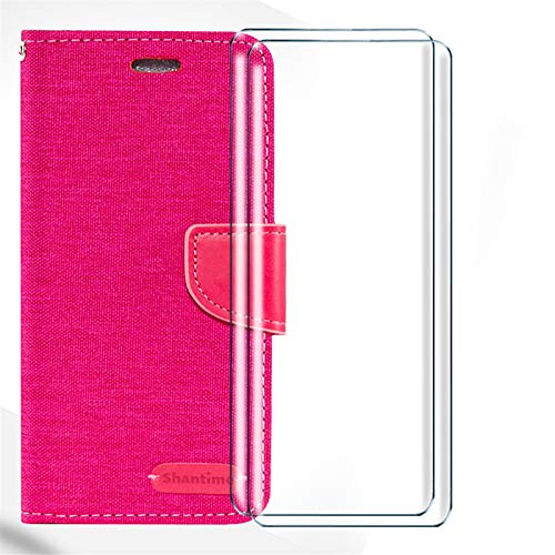 HYMY Denim Hülle für Wiko Y80 + 2 Pcs Schutzfolie Panzerglas Folie - Lederhülle Flip Schutzhülle Card Slot mit Brieftasche Handyhülle Bookstyle Flip Cover Hülle-Rose Red
