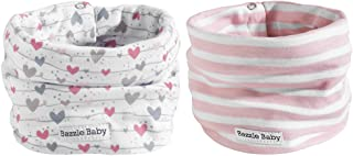 Baby Scarf Drool Bibs,  Double-Layer Cotton Bibs,  Perfect Addition to Baby Winter Clothes,  Adjustable Nickel-Free Snaps,  Provides Style & Warmth,  3 to 24 mos,  by Bazzle Baby (Wavy Lines & Hearts)