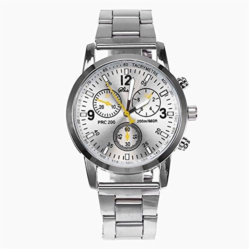 DSJSP Reloj De Aleación De La Aleación De La Banda del Reloj De Acero Inoxidable De Los Hombres Simples (Blanco)