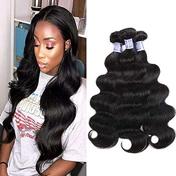 Sayas Hair 10A Grade Brazilian Body Wave Human Hair Bundles Weave Hair Human Bundles Brazilian Virgin Hair For African Americans Women 3 Bundles Total 300g/10.5oz  10 12 14  Inch
