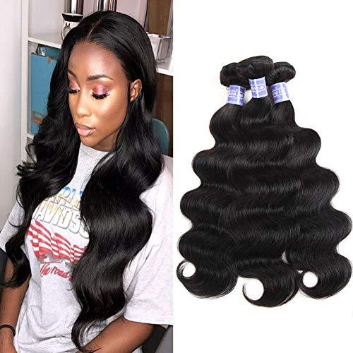 Sayas Hair (22 24 26 inch) Brazilian Virgin Hair Body Wave Remy Human Hair Bundles 100% Unprocessed Human Virgin Hair 3 Bundles 100g/Bundle Natural Color