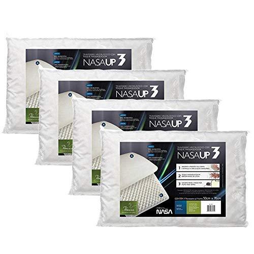 kit 4 pçs travesseiro nasa up 3 p/fronhas 50x70 cm - Fibrasca, Branco