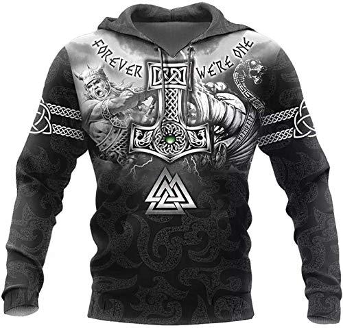DFWY WDBayXH Herren Norse Mythology Sweatshirt Hoodie Odin Thor's Hammer Valknut Tattoo 3D drucken volle Zip Pullover, Viking Pagan Vintage Langarm Streetwear Casual Jacke, Pullover, 3XL