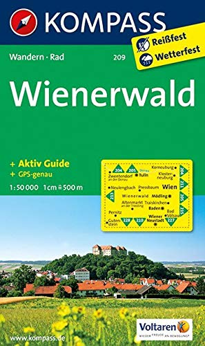 KOMPASS Wanderkarte Wienerwald: Wanderkarte mit Aktiv Guide und Radwegen. GPS-genau. 1:50000 (KOMPASS-Wanderkarten, Band 209)