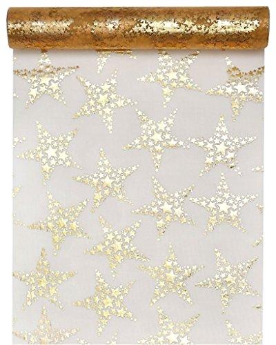 Es Weihnachtet sehr.. Tischband Tischläufer GOLDENE STERNE 5,00 x 0,28 m