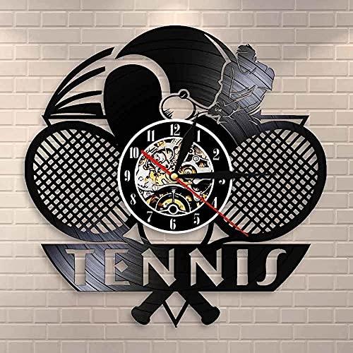 yltian Campeonato Partido de Tenis Grand Slam Disco de Vinilo Reloj de Pared Logo de Tenis Raqueta cancha decoración de Pelota Reloj de Pared Regalo de Atleta
