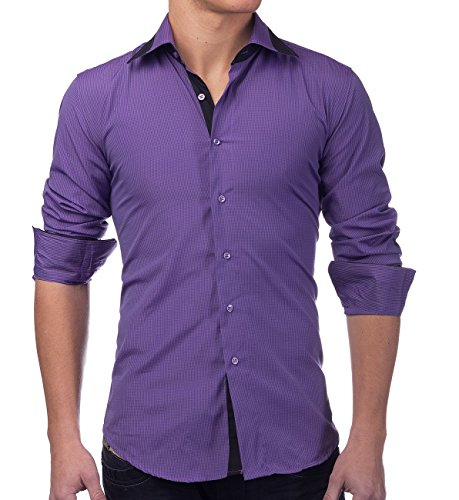 Herren Hemd Slim Fit Langarm Shirt Kariert, Größe Hemd:XL, Farben:Lila
