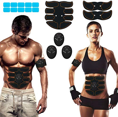 SPORTLIMIT Abs Stimulator Abdominal Trainer EMS Abs Toner Body Muscle Trainer Wireless Portable Fitness Workout Equipment for Men Woman Abdomen/Arm/Leg Home Office Exercise,10pcs Free Gel Pads