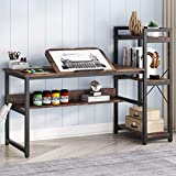 Tribesigns Computer Desk with Storage Shelves and Tiltable Tabletop, 60 inch Large Drawing Desk Computer Table Writing Desk Workstaion with Bookshelf for Home Office (Rustic Brown)