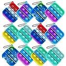 Howstart 12 Pcs Mini Push pop Bubble Fidget Toy, Simple Fidget Toy, Keychain Bubble Pop Desk Toy, Decompression Toys Suitable for All Ages (Square)