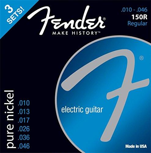 """Fender 073-0150-310 E-Gitarren Saiten\""""150R, 3er Pack Pure Nickel, 010/046\"""""""