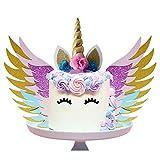 SUNSHINETEK Unicorn Cake Topper Set with Wings / Gold Glitter Unicorn Horn Horn / Sparkly...
