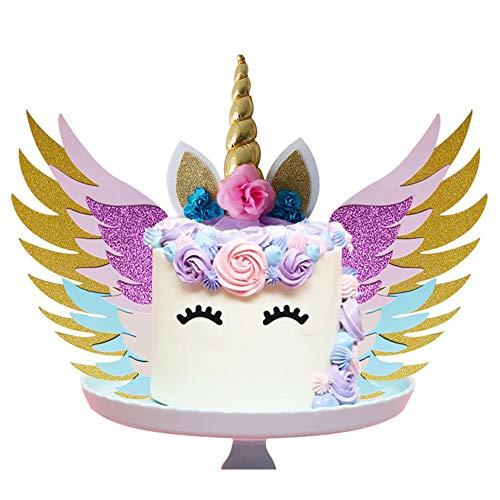 SUNSHINETEK Einhorn Cake Topper Set mit Flügeln / Goldglitter Einhornhorn / glitzernden bunten Flügeln / Ohren / Wimpern für Party Supplies Geburtstag Hochzeit Weihnachten