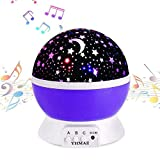Lullaby Musical Night Light,YHMAE 360 Rotating Star Lamp Baby Musical Lamp with Rechargeable Battery,12 Songs to Relax for Sleep Kids Babies Birthday Children Day Christmas Gift (Purple)