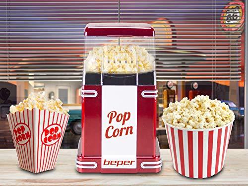 Beper Macchina per Popcorn, Popcorn in 3 Minuti, No Grassi, Circolazione di Aria Calda, Potenza 1200 W Rosso