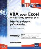 VBA pour Excel (version 2019 et Office 365) Exercices et corrigés