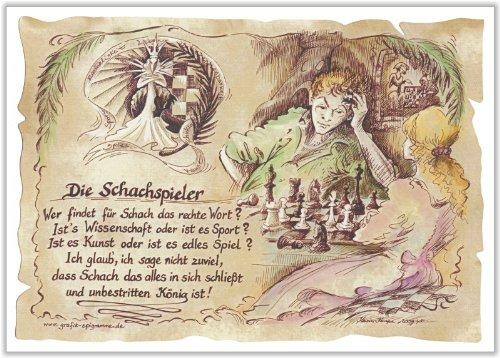 Geschenk Schachspieler Schach Gedicht Zeichnung Color 20 x 15 cm