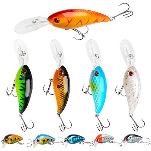 Crank Baits Fishing Lures, SundayPro 5pcs Topwater Bass Lures Swimbaits Deep Diving Sinking Hard Lure Fishing with Treble Hooks for Freshwater/Saltwater, 5pcs Micro Crankbaits(Crankbait - 10pcs)
