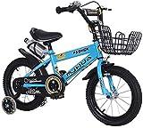 LIUXR Bicicletas Infantiles niña niño 3-9 años Freestyle 12 14 16 18 Pulgadas Ruedas auxiliares Bicicleta para niños,Blue_16inch