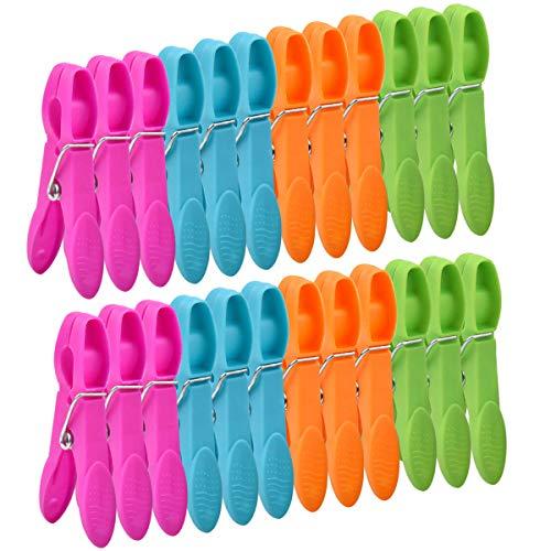 NATUCE 48PCS Pinces à Linge en Plastique, Coupe-Vent et Antirouille, Chevilles Plastique, Pince à Linge Plastique, Épingles à Linge pour Serviettes Chaussettes Underwears et Vêtements