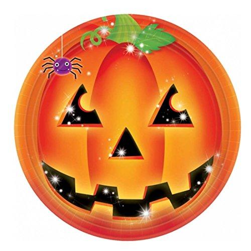 Amakando Assiettes jetables d'halloween Enfants courge 8 Assiettes Halloween Motif Citrouille 23 cm Assiettes de fête Bol de Repas à thème citrouilles équipement soirée Terrifiant Enfant