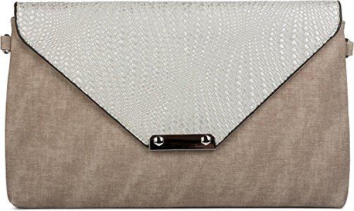 styleBREAKER Envelope Clutch Tasche mit Flecht Optik am Umschlag, Handschlaufe, Umhängegurt, Abendtasche, Damen 02012184, Farbe:Grau