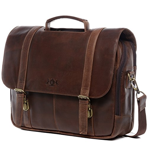 SID & VAIN Lehrertasche echt Leder Spector XL groß Laptoptasche Uni-Tasche Aktentasche College Laptopfach 15.6' Ledertasche Herren braun