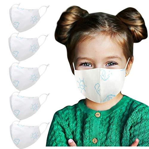 5 Stück Kinder Anti-Staub Gesicht Bandanas Cartoon Tierdruck Wiederverwendbare Waschbar Atmungsaktiv Mundschutz Anti Luftverschmutzung für Kinder Outdoor Sport (B)