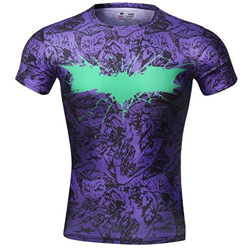 Cody Lundin® Movie Theme Superhero Hombre Manga Corta Tee Fitness compresión Shirt, murciélago logo camiseta violeta Large