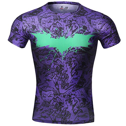 Cody Lundin Movie Theme Superhero Uomo Manica Corta Tee Fitness Compressione Shirt, Pipistrello Logo T-Shirt (XXL, Porpora)