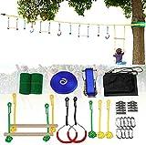 1UTech Ninja Slackline Kit, Carrera de obstáculos Ninja Warrior para niños, Juego de Accesorios para Colgar árboles al Aire Libre