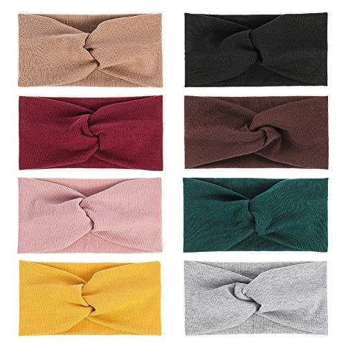 Firtink 8 Stück Haarband Damen Stirnband Sommer Elastische Stirnbänder Damen Kopftuch Kopfband Stirnband für Fahrrad, Sport, Fitness, Laufen, Yoga