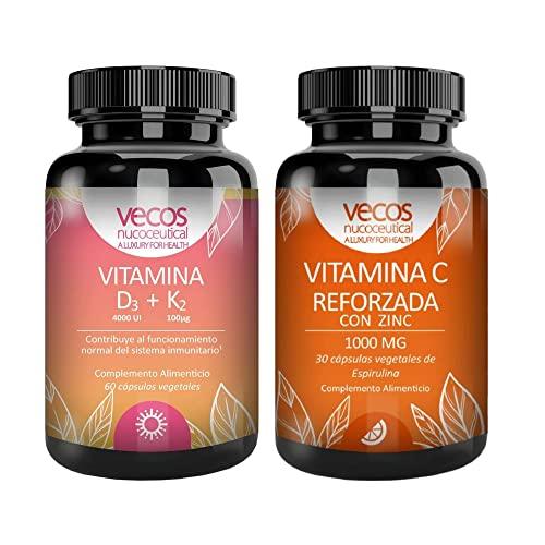 Pack para Reforzar el Sistema Inmunológico - Vitamina D3 + K2 y Vitamina C 1000 mg con Zinc - 60 + 30 Cápsulas - Propiedades Antioxidantes Naturales - Suplementos Vitamínicos