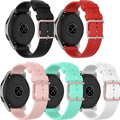 Ruentech Correa compatible con Umidigi Uwatch 2 / Umidigi Uwatch 2S, correa de repuesto de silicona suave, flexible, correa de repuesto, accesorios (negro, rojo, blanco, rosa y azul)