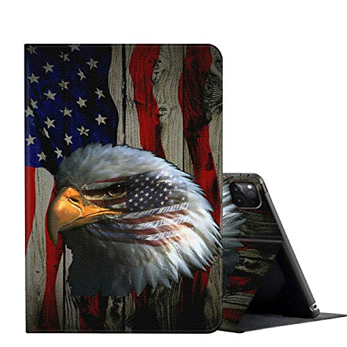 iPad Pro 11 Case 2020,AMOOK Adjustable Folio Smart Cover Stand Shockproof TPU Case with Auto Sleep/Wake & Anti-Slide Design for Apple iPad Pro 11 Inch 2nd Generation - Patriotic Eagle