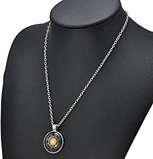ERAWAN Fashion Sri Yantra Photo Cabochon Glass Pendant Silver Chain Necklace Jewelry EW sakcharn