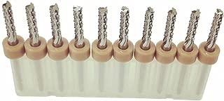 XUEJET End Mill Engraving Bits 3.175mm Milling Cutter, 10pcs PCB Titanium Coat Carbide Router for CNC, Carbon Fiber, Plastic, CEM-3, PCB