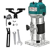 Electric Wood Router, Ligneous Handcraft Trimmer, Cabinet Processing Joiner Set, Easy Wood Groover, Stale Stainless Steel Lock Nut, 110V 800W 3000RPM (Blue)