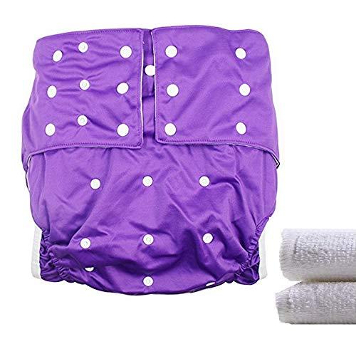 LukLoy Stoffwindel für Erwachsene, Damen, Inkontinenzversorgung mit zwei Einlagen, schützende Unterwäsche, verstellbare Größe, waschbar und wiederverwendbar, auslaufsicher, Taillengröße ca. 65–135 cm