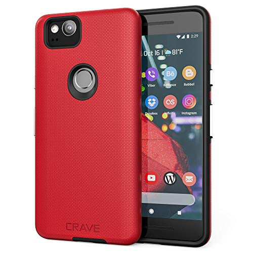Crave Google Pixel 2 Case, Dual Guard Protection Series Case for Google Pixel 2 - Red