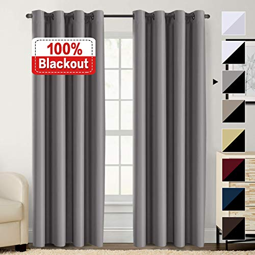 Flamingo P 100% Blackout Curtains for Bedroom, Thermal Insulated Lined Curtains 84 Inches Double Layer Curtains 2 Panels, Energy Saving Curtains Grommet Window Drapes, Grey with Black Liner