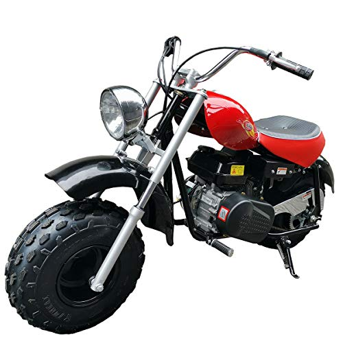 """X-PRO 2020 Version Supersized 200 Mini Bike Gas Powered Mini Trail Bike Scooter Mini Motorcyle for Youth and Adults,19"""" Wide Fat Balanced Tires! Big Headlight(Red)"""