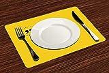 Manteles Individuales, Amarillo y negro, sabio refrán inspirador en un círculo con comill,Mantel Individual Antideslizante Lavable Resistente Al Calor para Hoteles Restaurante Catering (Paquete de 4)