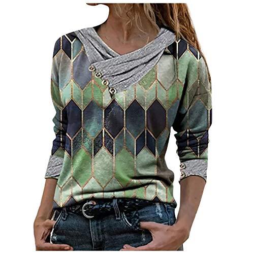 FMYONF Maglia a tunica lunga con collo rotondo, a maniche corte, casual, stile retrò, ricamata, alla moda, in cotone e lino, traspirante, per il tempo libero (verde, S)