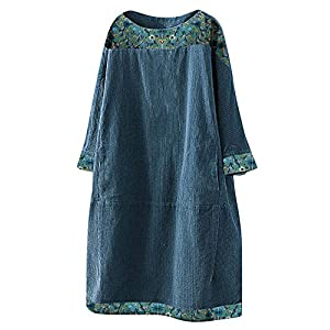 Women's Oversize Corduroy Tunic Dress Print Long Sleeve Tops with Pockets